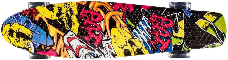 Deskorolka Fiszka 56cm - koła LED - graffiti