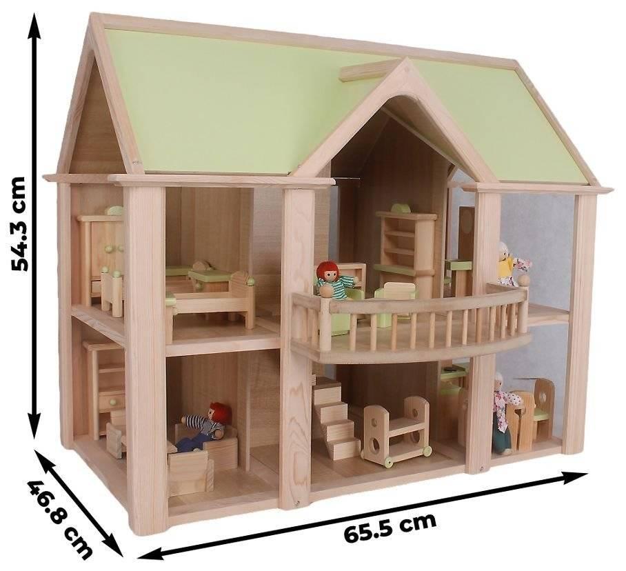 Domek z balkonem - lalki, akcesoria i meble w zestawie!