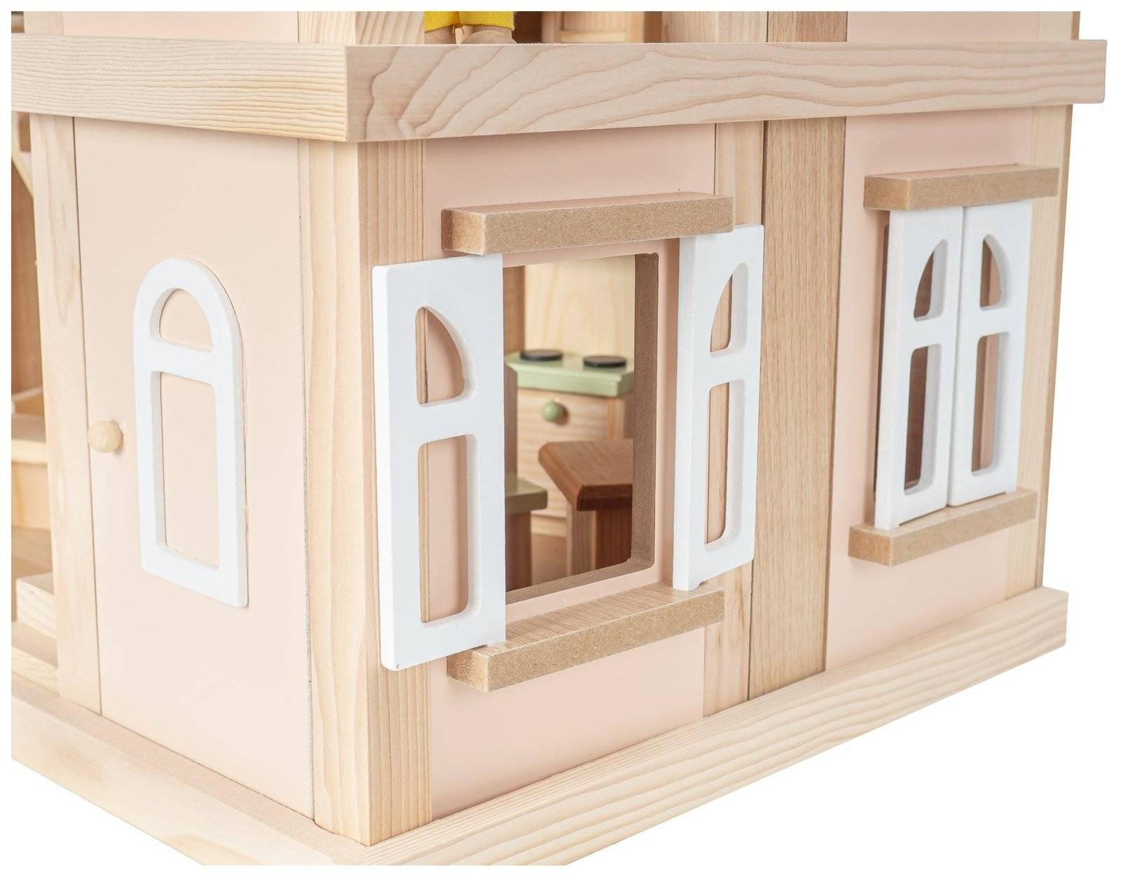 Drewniana Willa - domek XXL dla lalek. W zestawie lalki, akcesoria i meble
