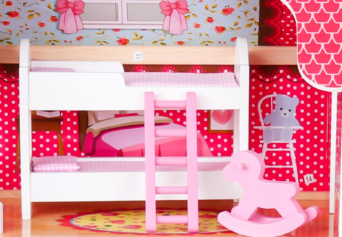 Duży drewniany domek dla lalek z oświetleniem LED!