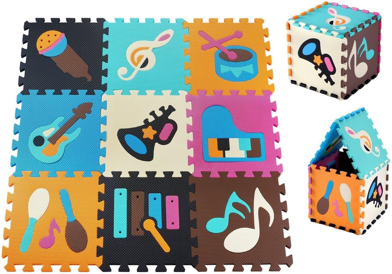 Mata edukacyjna piankowe puzzle 90 x 90 x 1cm - pianka EVA - wzór: instrumenty