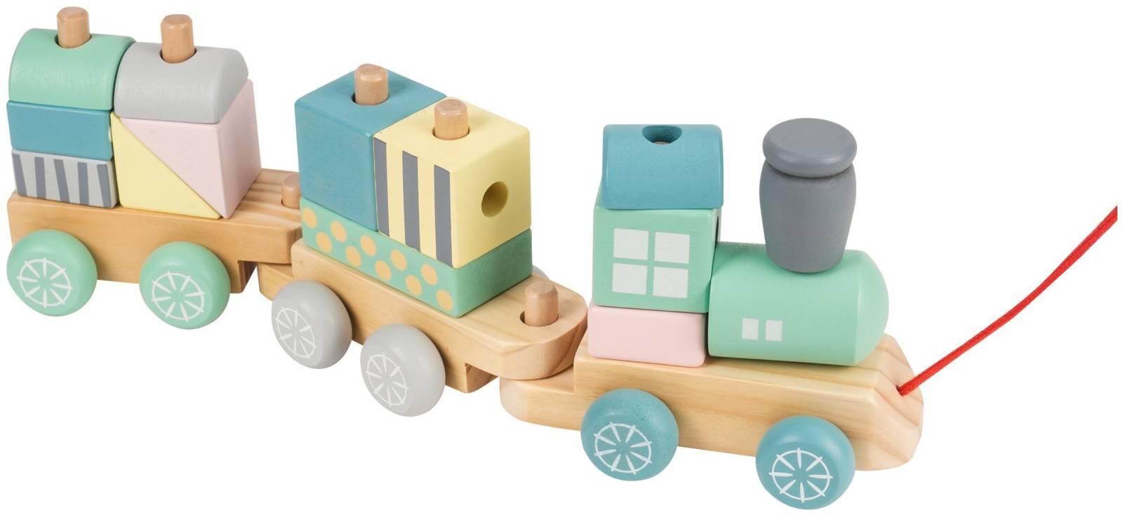 Pastelowa ciuchcia drewniana z klockami - kolejka, pociąg